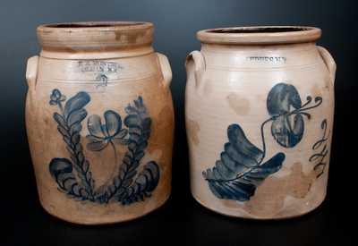 Lot of Two: Two-Gallon New York Stoneware Jars w/ Floral Decoration, E. A. MONTELL / OLEAN, NY and GEDDES, NY