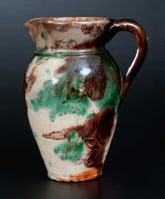 Very Rare Multi-Glazed Redware Pitcher Incised