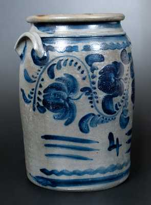4 Gal. Western PA Stoneware Jar with Profuse Cobalt Floral Decoration