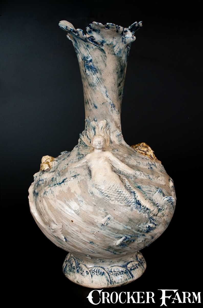 Monumental Stoneware Vase W Mermaids And Applied Rocks