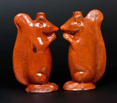 Very Rare Pair of Redware Figural Squirrel Bottles, att. Rudolph Christ, Salem, NC, 1804-29