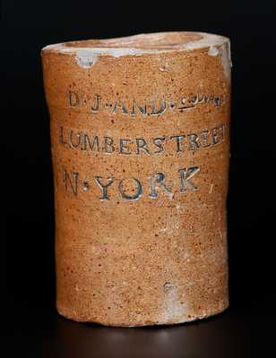 Extremely Rare Thomas Commeraw, New York Stoneware Oyster Jar w/ Cobalt-Highlighted Advertising