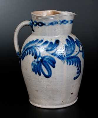 Fine Baltimore Stoneware Pitcher w/ Cobalt Floral Decoration, circa 1840
