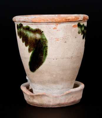 S. BELL & SON / STRASBURG, VA Shenandoah Valley Copper-Decorated Redware Flowerpot