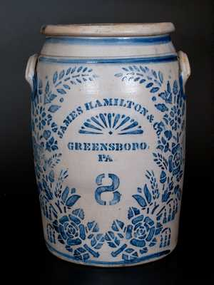 Rare JAMES HAMILTON & CO. / GREENSBORO / PA Eight-Gallon Stoneware Jar w/ Profuse Stenciled Floral Decoration