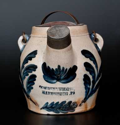 COWDEN & WILCOX / HARRISBURG, PA Stoneware Batter Pail w/ Elaborate Leaf and Floral Decoration