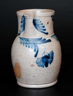 1/2 Gal. Stoneware Pitcher with Cobalt Floral Decoration, Baltimore