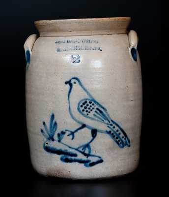 COWDEN & WILCOX / HARRISBURG. PA Stoneware Jug w/ Cobalt Walking Bird Decoration