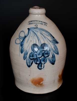 COWDEN & WILCOX. / HARRISBURG. PA Stoneware Jug w/ Cobalt Grapes and Shaded Leaves