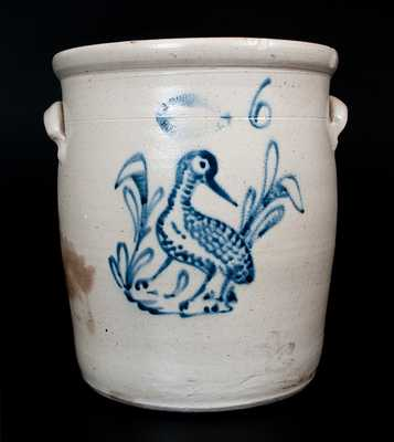 6 Gal. J. BURGER, JR. / ROCHESTER, NY Stoneware Jar with Shorebird Decoration