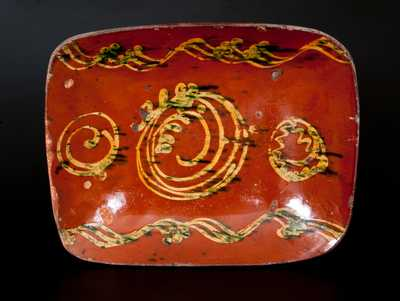 New England Redware Loaf Dish w/ Elaborate Lead and Copper Slip Decoration