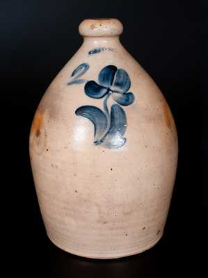LYONS, New York, Stoneware Jug with Cobalt Floral Decoration