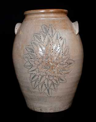 Extremely Rare Anna Pottery Stoneware Presentation Jar w/ Incised Girl's Face and Floral Design, 1873
