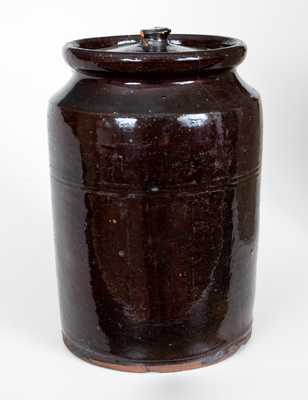 Rare J. McCULLY. / TRENTON, New Jersey Lidded Redware Jar