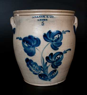 N. CLARK & CO. / LYONS Stoneware Jar w/ Profuse Floral Decoration