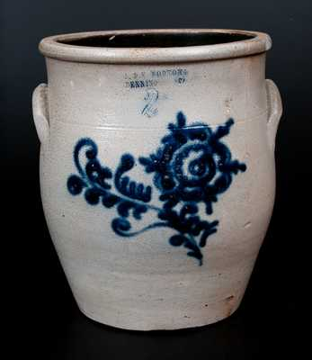 J. & E. NORTON / BENNINGTON, VT Stoneware Jar w/ Slip-Trailed Floral Decoration