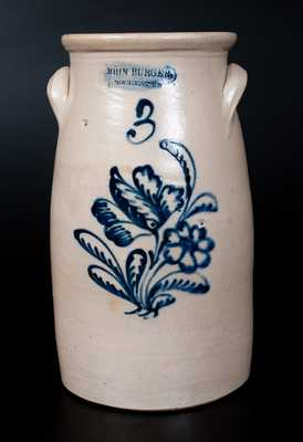 JOHN BURGER / ROCHESTER Stoneware Churn w/ Very Fine Slip-Trailed Floral Decoration