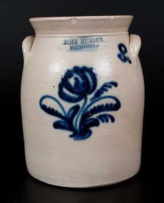 JOHN BURGER / ROCHESTER Stoneware Jar w/ Bold Slip-Trailed Floral Decoration
