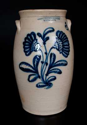 HARRINGTON & BURGER / ROCHESTER Stoneware Churn w/ Elaborate Slip-Trailed Floral Decoration