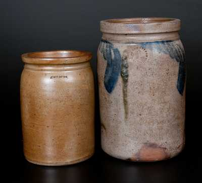 Lot of Two: Virginia Stoneware Jars, Signed MILBURN, Alexandria, VA and Richmond, VA Example