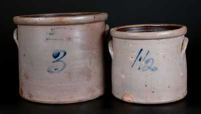 Lot of Two: A. J. BUTTLER / NEW BRUNSWICK, NJ Crock and 1 1/2 Gal. Crock