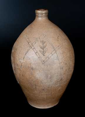 Ohio Stoneware Jug with Incised Masonic Symbol and Floral Design