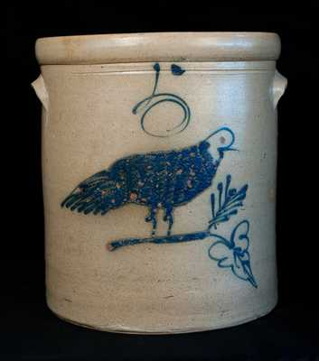 Five-Gallon Stoneware Crock with Cobalt Bird Decoration, Midwestern origin, possibly Red Wing, MN or Akron, OH, fourth quarter 19th century