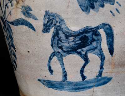 Extremely Rare and Important S. BELL (Samuel Bell, Winchester, VA) Seven-Gallon Stoneware Horses Jar, circa 1840