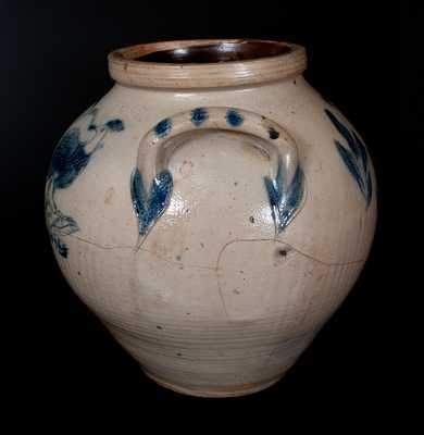 Very Rare Large Ovoid Stoneware Jar w/ Incised Owl and Birds Decoration, New York State, circa 1835