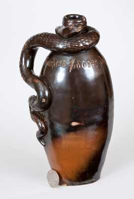 Extremely Rare Anna Pottery Stoneware Snake Flask Inscribed