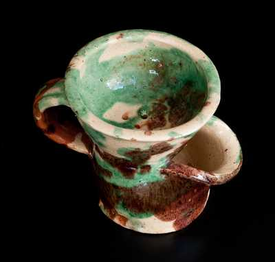 Exceptional Shenandoah Valley Multi-Glazed Redware Shaving Mug, attrib. J. Eberly & Co., Strasburg, VA