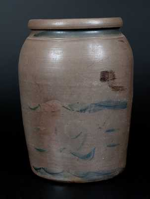 Two-Gallon Stoneware Jar with Cobalt Stripe Decoration, Western PA or Palatine, WV origin