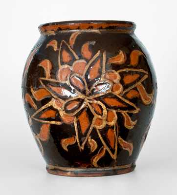 Exceedingly Rare and Important Solomon Grimm, Rockland Township, Berks County, PA Redware Jar, 1820