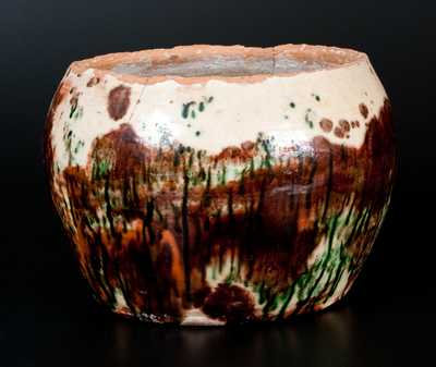 Rare Shenandoah Valley Multi-Glazed Redware Flowerpot, Strasburg, Virginia