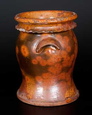 Unusual Urn-Shaped Redware Flowerpot with Crimped Rim, Possibly Galena, IL