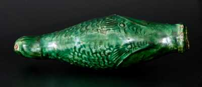 Exceptional Green-Glazed Redware Figural Fish Bottle, Salem, NC, 1804-29
