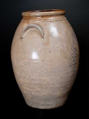 Extremely Rare Anna Pottery Stoneware Presentation Jar w/ Incised Girl s Face and Floral Design, 1873