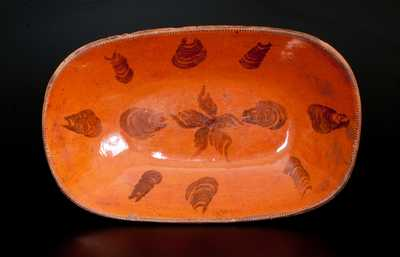 Extremely Rare J. McCULLY / TRENTON, NJ Redware Platter w/ Manganese Oyster Shell and Central Star Designs