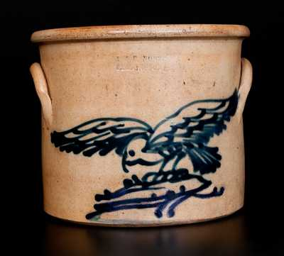 Rare J. & E. NORTON / BENNINGTON, VT Stoneware Flying Hawk Crock