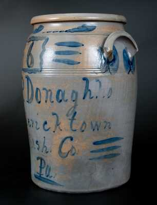 Outstanding and Extremely Rare A. P. Donaghho / Fredericktown, PA 6 Gal. Stoneware Crock w/ Bold Brushed Decoration