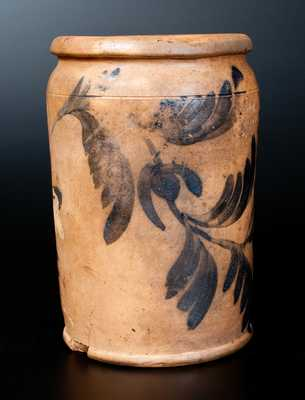 Extremely Rare J. BLACK / ALEXA, D.C Stoneware Crock w/ Elaborate Floral Decoration and Incised Initial on Underside