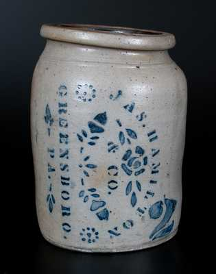 Rare JAS. HAMILTON / & CO. / GREENSBORO. / PA. Two-Gallon Stoneware Jar w/ Sideways Stenciling