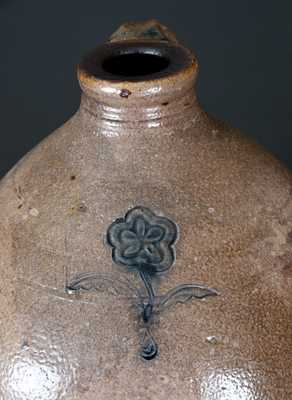 Two-Gallon Stoneware Jug w/ Impressed Floral Decoration, Massachusetts, early 19th century