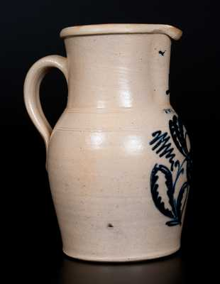 LYONS, NY Stoneware Pitcher with Elaborate Slip-Trailed Floral Decoration