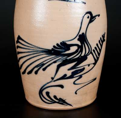 WHITES UTICA Stoneware Churn w/ Large Slip-Trailed Running Bird Decoration
