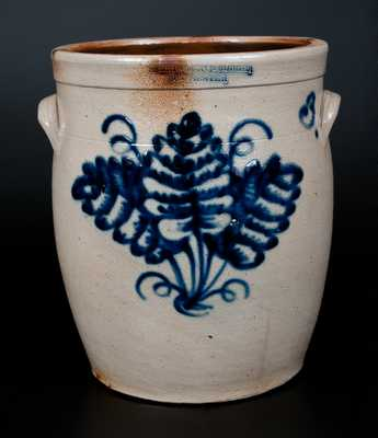 HARRINGTON & BURGER / ROCHESTER Stoneware Jar w/ Bright Detailed Triple Leaf Decoration