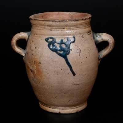 18th Century Stoneware Jar w/ Vertical Handles, Cheesequake, NJ or Manhattan, NY