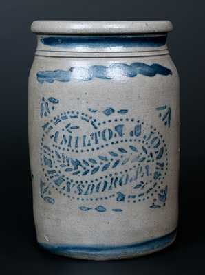HAMILTON & JONES / GREENSBORO. PA Stoneware Jar