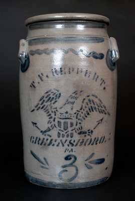 T.F. REPPERT. / GREENSBORO. / PA Cobalt-Decorated Stoneware Churn