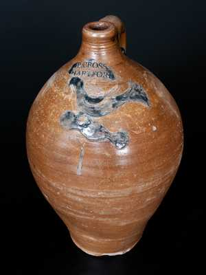 Very Rare P. CROSS / HARTFORD Incised Bird Jug, c1806-08